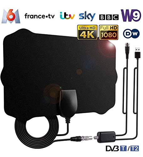 puissant Antenne TV domestique puissante, antenne TNT avec amplificateur de signal 200 km, antenne TV…