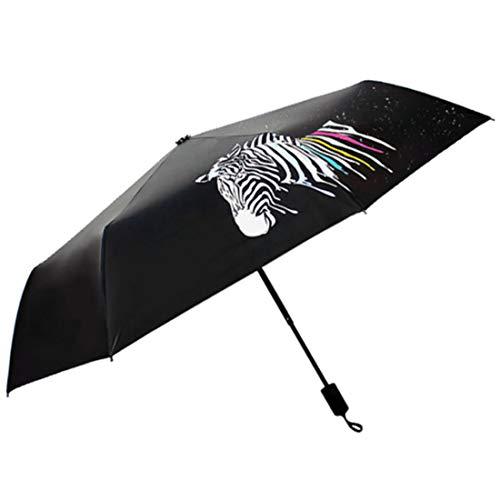 JKHOIUH Kreative Zebra-Muster Schwarz Sonnenschirm Compact Frauen Reisesonnenschirm Winddicht UV Schutz Tragbare Taschenschirm Taschenschirm (Farbe : Schwarz)