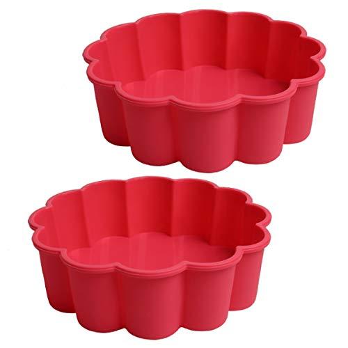 Silikon Backform - WENTS Bake Quiche-Backform 20 cm Tortelett Obsttorten Quicheformen Kuchenform Kuchenbackform Tortenform Tortenboden Rund Wellenrand 2pcs