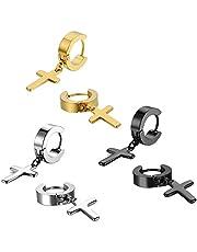 Jewelrywe Gioielli Orecchini Unisex Croce Religione, Pendente Croce Orecchini a Cerchio, Acciaio Inossidabile, Argento/Nero/Oro, Incisione Regalo(con Borsa)