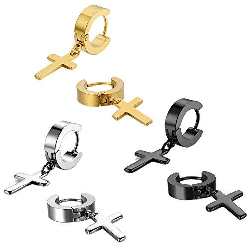 Jewelrywe Joyería 1-4 Pares Pendientes de hombre mujer, niña, Cruz Semental Aro, Acero inoxidable, Color plata Negro (con bolsa de regalo)