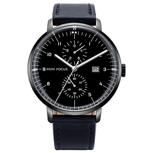 JTTM Reloj De Hombre Cronógrafo Analógico De Cuarzo Reloj De Pulsera Impermeable para Negocios con Correa De Cuero,Negro
