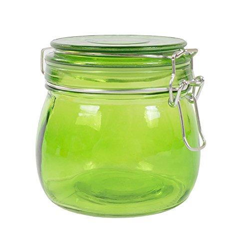 Drahtbügelglas 500 ml mit Gummiring Vorratsdose Einlegen Einkochen Aufbewahrung, Farbe:grün