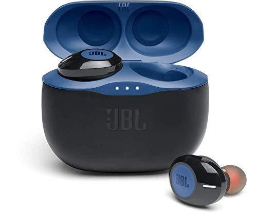 JBL 125 TWS Auriculares intraaurales realmente inalámbricos, con Bluetooth, Sonido Pure Bass y modo Dual Connect, hasta 32 hrs de música con estuche de carga, azul