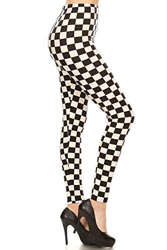 S534-OS B&W Checkered Print Fashion Leggings