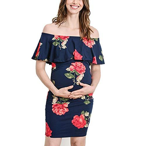 Likecrazy Damen Umstandskleid Schwangerschafts Kleider Off Schulter Umstandsmode Kleider Elegant Partykleid Abendkleid Blumendruck Rüschen Freizeitkleid Casual Midikleid