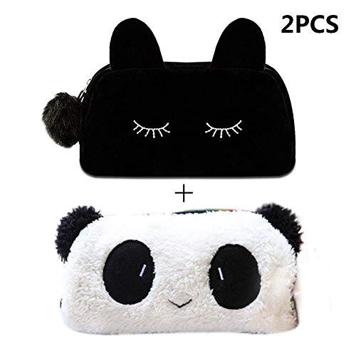 INTVN 2 Piezas Estuche de Dibujos Animados (Estuche Panda+Estuche Gato), Multifunción Bolso de Maquillaje Bolsas de Papelería/Cosmético