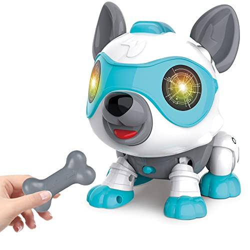 aovowog Elektronisches Haustier Hund Spielzeug für Kinder Jungen Mädchen,Baby Spielzeug Interaktiv Roboter Hund Elektronisches Spielzeug mit Musik Licht,Lernspielzeug ab 3 4 5 6 7 8 Jahre