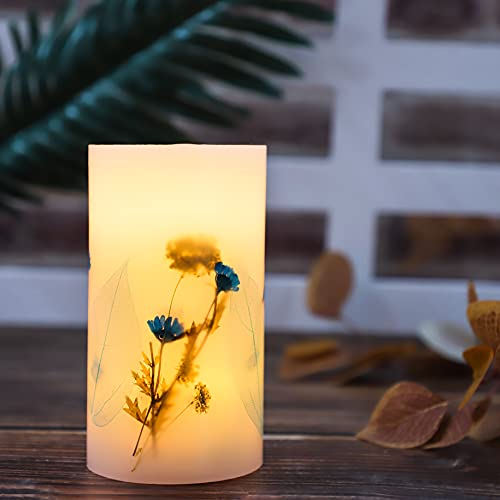 SILVERSTRO Battery Operated Candle Blink with Timer(D3.25' x H6'), Pillar Real Wax Embedded Flameless Candle, Lovely LED Night Light for Home Dating Candlelight Dinner Decor Wedding Women's Gift