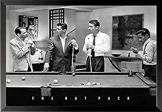 Buyartforless Work Framed The Rat Pack Playing Pool Photograph 36x24 Music Art Print Poster, Black & White