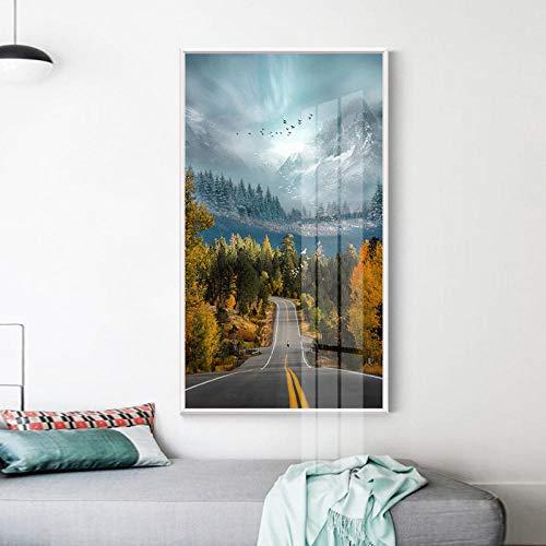 LLXXD Nordische Plakate Die ruhige Straße erstreckt Sich weit Weg Moderne Wandkunst Leinwandmalerei und Drucke Wandbilder für Wohnzimmer Dekor 45x90cm (kein Rahmen)