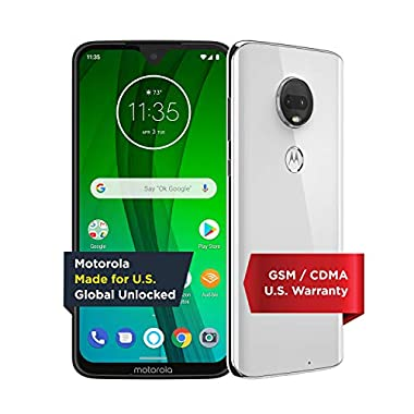 Moto G7 with Alexa Hands-Free – Unlocked – 64 GB – Clear White (US Warranty) – Verizon, AT&T, T–Mobile, Sprint, Boost…