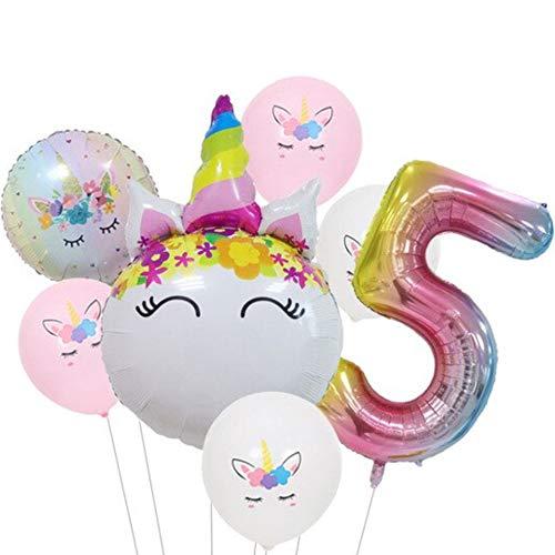 DIWULI, Ballon-Set, XL Zahlen-Ballon, Zahl 5, Einhorn-Ballon, Latex-Ballon, Latex-Luftballon 5. Kinder-Geburtstag Mädchen, Motto-Party, Dekoration, Folien-Ballon, Folien-Luftballon, Zahlenluftballon