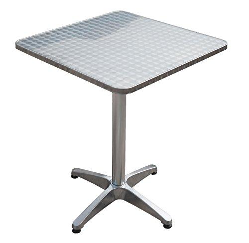 Unbekannt VARILANDO quadratischer Bistro-Klapptisch aus Stahl mit Aluminium-Gestell 60x60 cm Garten-Tisch Klapptisch Esstisch Kaffetisch