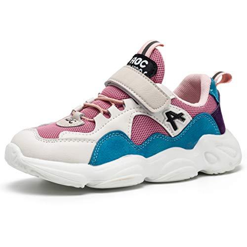ZXSFC Kinderschuhe Mädchen Sportschuhe Mädchen Sneaker Mädchen Turnschuhe Kinderschuhe Mädchen Laufschuhe Mädchen Hallenschuhe Mädchen Fitnessschuhe Outdoor Schuhe Rosa 34