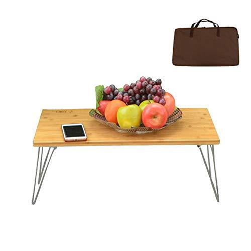 HFM Mesa de camping plegable al aire libre, mesa de picnic portátil, mesa de comedor de bambú con bolsa para jardín BBQ Party
