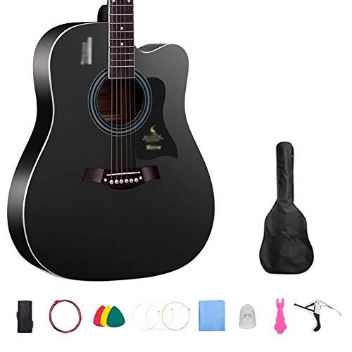 Zjcpow Pop de la Gente de la Guitarra, 38,41 Pulgadas de Chapa de Madera de Abeto único Sonido de Calidad Bajos acordes niños en Edad Escolar EntryLevel Guitarra (Color: Negro, tamaño: 96cm) xuwuhz