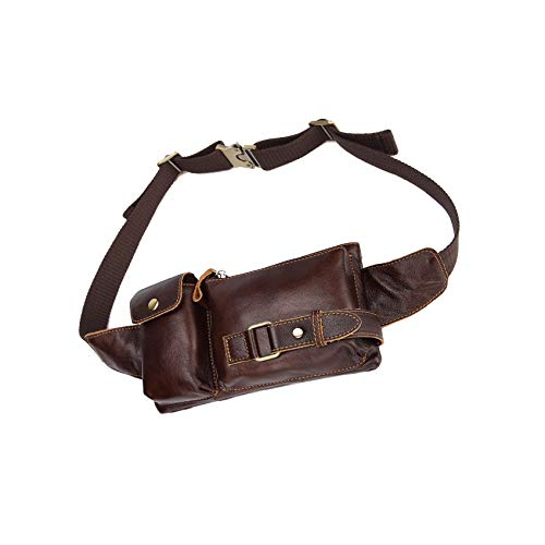 HUAMEIBANG Genuine Leather Waist Packs Fanny Pack for Men Women Travel Outdoor Cell Phone Purse Wallet Pouch (Coffee)