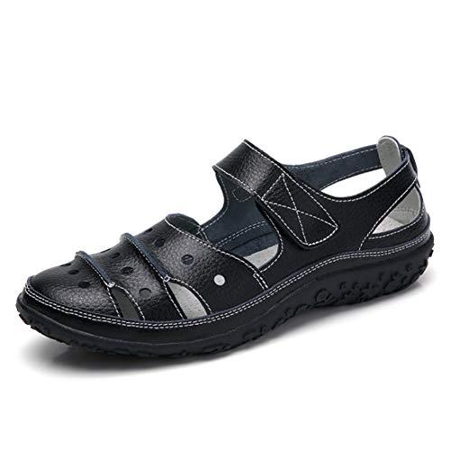 Z.SUO Sandalias Mujer de Cuero Planas Cómodos Casual Mocasines Loafers Moda Zapatos Plano Verano Sandalias y Chanclas