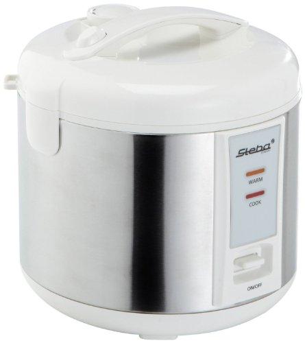 Steba RK 2 Reiskocher | 3,5 Liter Inhalt | Scharnierter Deckel mit Verschluss | Dämpfeinsatz für Gemüse oder Fisch | Einfache