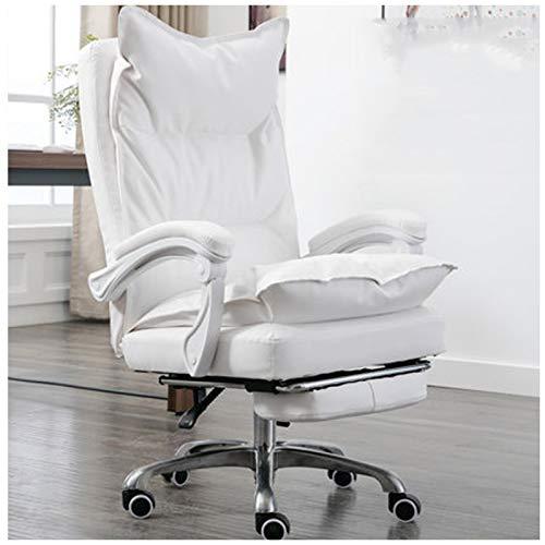 Silla de ordenador Silla de oficina Silla de estudio Jefe Silla giratoria Silla de oficina de cuero reclinable gruesa Sedentaria cómoda silla de computadora blanca