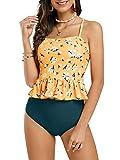Tutorutor Womens High Waisted Peplum Tankini Halter Swimsuit Retro Ruffle Floral Print Tummy Control 2 Piece Bikini Set