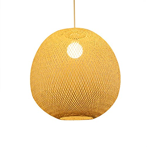 KAIKEA Lámpara de araña de bambú esférica clásica tradicional Lámpara colgante de bambú tejida a mano creativa Lámpara de decoración de comedor y dormitorio E27 Portalámparas de una sola cabeza Linter