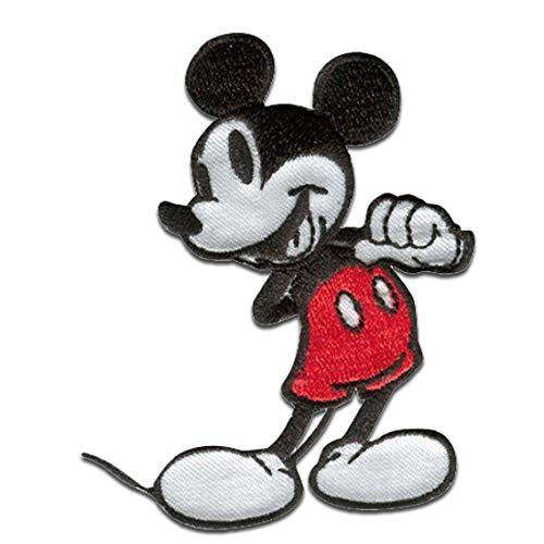 Disney © Mickey Mouse 90 Jahre - Aufnäher, Bügelbild, Aufbügler, Applikationen, Patches, Flicken, zum aufbügeln, Größe: 6,0 x 7,2 cm
