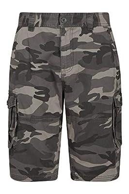 Mountain Warehouse Mens Camo Cargo Shorts -Durable Summer Short Pants Black Camo 36W