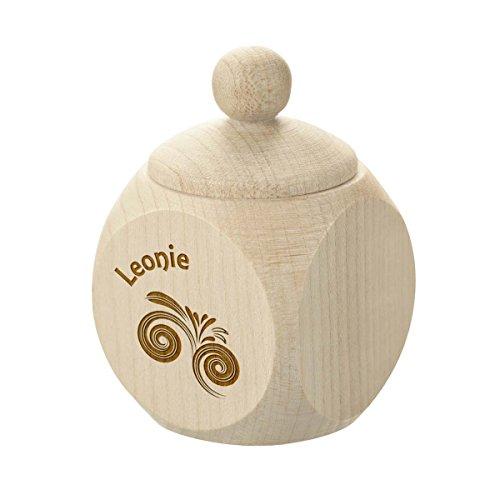 polar-effekt Milchzahndose oder Haar Dose aus Holz mit Gravur - Personalisierte Baby Zahnbox für Milchzähne als Geschenke für Jungen & Mädchen - Erste Haar Locke - Motiv Wirbelwind