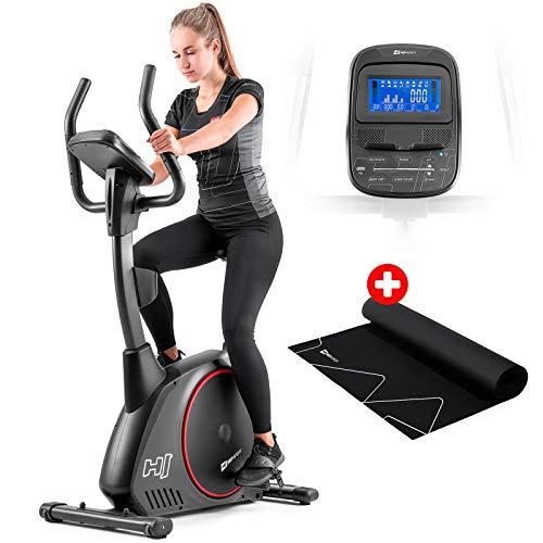Hop-Sport Heimtrainer Fahrrad HS-095H inkl. Unterlegmatte - Ergometer mit App-Steuerung, 12 Trainingsprogrammen, 32 Widerstandsstufen, Schwungmasse 13,5 kg - Fitnessbike max. Nutzergewicht 135 kg Grau