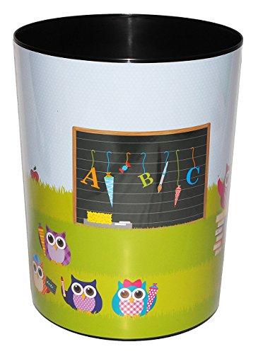 alles-meine.de GmbH Papierkorb - Eule & Schule - Kunststoff - Mülleimer Eimer Aufbewahrungsbox - für Kinder / Mädchen & Jungen - Eule - Schultüte Schulanfang / Abfallbehälter / A..