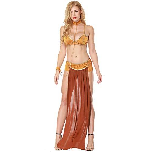 hhalibaba Star Wars Cosplay Disfraces Princesa Leia Slave Bra + Falda Negro y Marrón MujeresSexy Fiesta Anime Disfraz de Halloween Estilo Egipcio