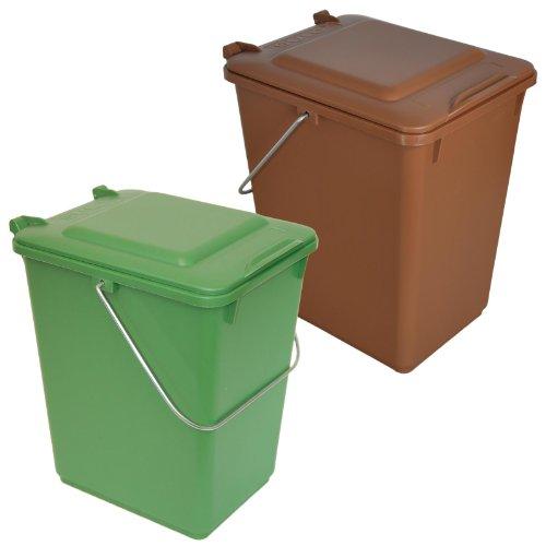 Sulo 2 x Bio Boy Müllbehälter für Küche und Garten 10 Liter im Set braun + grün BIOABFALL