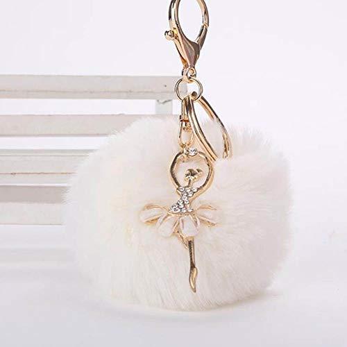 nobranded Schlüsselbund Anhänger Frauen Schlüsselanhänger Halte Fluffy Fake Pompons Schlüsselanhänger Geschenke für Tasche Zubehör, Reis weiß