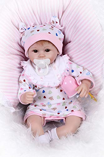 iCradle 17inch 42cm Lovely Real Lifelike Realistic Looking Reborn Baby Girl Doll Handmade Soft Vinyl Silicone Baby Toddler Newborn Dolls Fake Babies Mouth