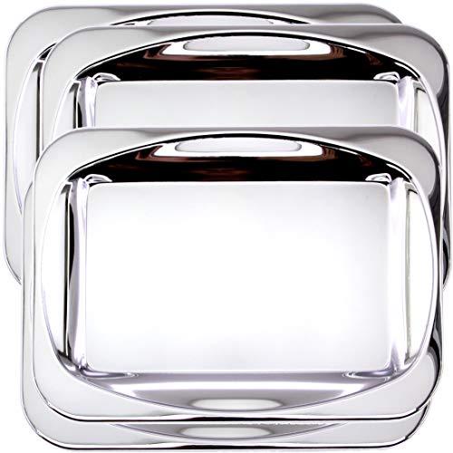 Maro Megastore (Pack of 4) 35.9 cm x 25.9 cm Oblong Chrome Plated Silver Mirror Serving Tray Simple Plain Party Birthday Wedding Dessert Snack Decorative Wine Decor Platter Plate Dish Base CC-1149