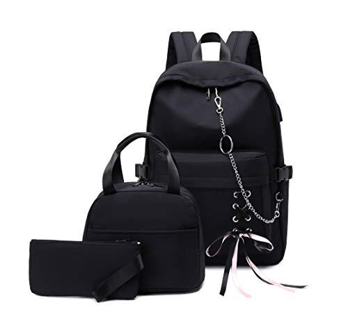 Joymoze Mädchen Laptop Rucksack mit Tasche für Mittagessen und Mäppchen Schwarze Kette