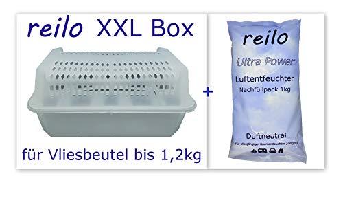2x XXL Raumentfeuchterbox mit 10x 1kg Ultrapower Luftentfeuchter- Raumentfeuchter- Granulat (Calciumchlorid) Nachfüllpack im Vliesbeutel