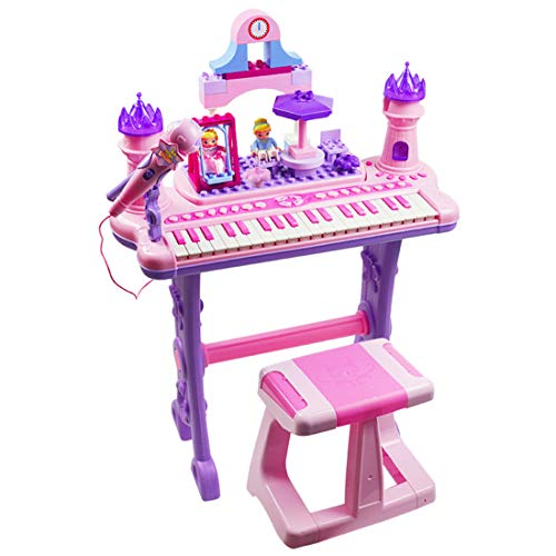 Ggoddess Musical Toy Keyboard Multi-Functional Piano, Instrument Electronic Organ with Microphone and Stool,Kids Building Block Toys