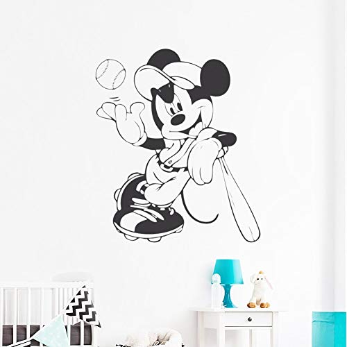 guijiumai Cartoon Bild Maus Wandaufkleber Aufkleber Baseball Boy Nursery Vinyl Wandtattoos Kinderzimmer Cute Poster Removable grau 42X49 cm