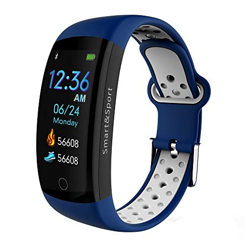 YUYLE Smartwatches IP68 waterdicht Sport Smart Band GPS Smart Armband bloeddrukzuurstof Smart Armband Fitness Armband Hartslagmeter, blauw