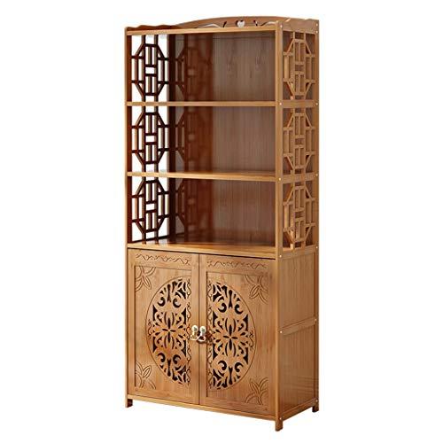 LYLY Estantería con armario de almacenamiento multiusos y estante de exhibición y organizador de almacenamiento (color: natural, tamaño: 5 niveles)