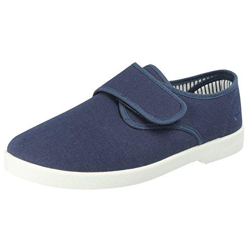 Dr Keller - Zapatillas de Lona para Hombre, Informales, sin Cordones, Anchas, cómodas, para Bares, Zapatillas de Deporte, Zapatos Planos - Tallas del Reino Unido 6-11, Color Azul, Talla 41 EU