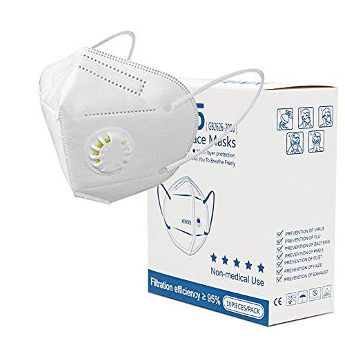 reakoo Facciale protettiva personale a 5 strati, nasello regolabil,Con valvola di respirazione 10 pezzi