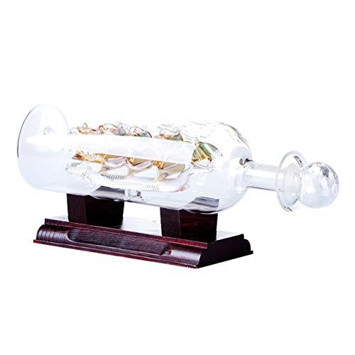 Lanceasy Botella de agua con barco decorativo 3D de madera en botella de vino, 24 x 10,2 cm