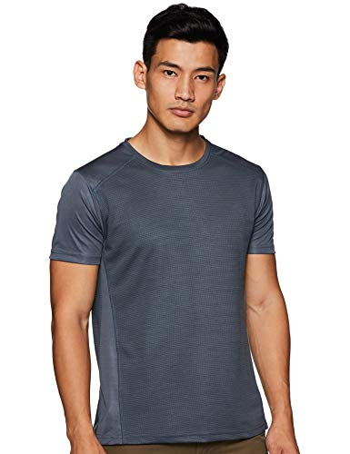 6 Degrees Men's Checkered Regular fit T-Shirt (6D-CDFT-DGR-S_Dark Grey