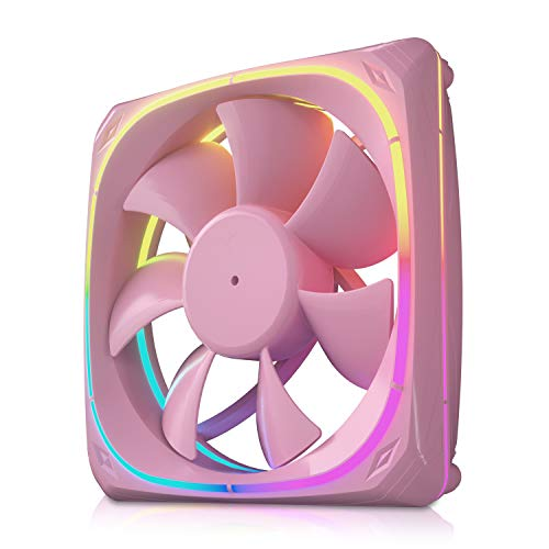 Vetroo CF120 120mm Case Fan 5V 3 PIN Addressable RGB MB Sync PC Cooling Fan W/Pink Fan Frame for Radiator/CPU Cooler/Computer Case