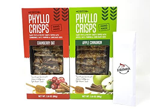 Phyllo Crisps Pastry Dough Sheets Crisp Snack Variety Bundle - Cranberry Oat Crisps Apple Cinnamon with kokobunch kit by Nu Bake | 2 Pk - 2.8 oz