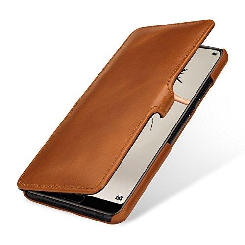 StilGut Book Type Lederhülle für Huawei P20. Seitlich klappbares Flip-Hülle aus Echtleder mit Smart Cover Funktion, Cognac mit Clip